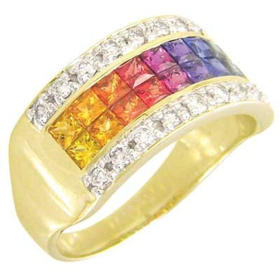 Multicolor Rainbow Sapphire & Diamond Invisible Set Band Ring 18K Yellow Gold (2.25ct tw) SKU: 1494-18K-Yg