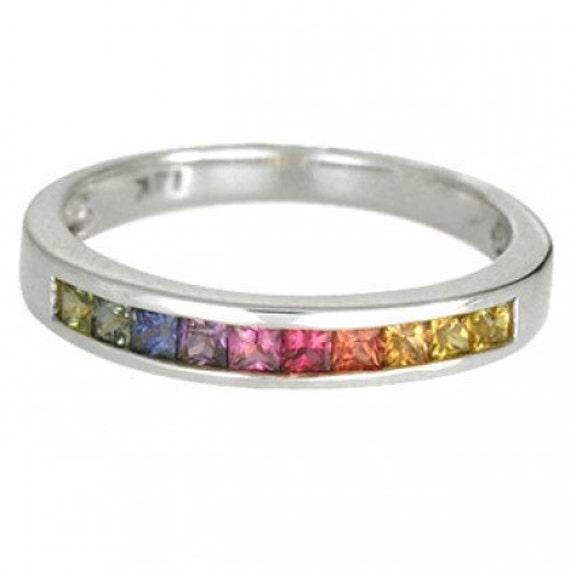 Multicolor Rainbow Sapphire Half Eternity Band Ring 14K White Gold (3/4ct tw) SKU: 891-14K-Wg