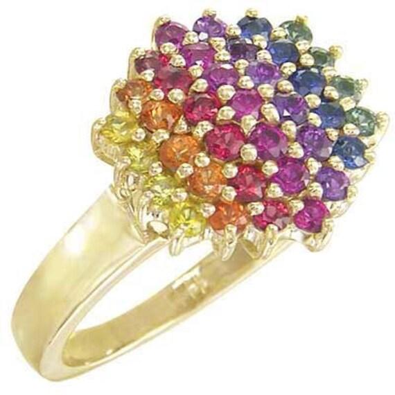multicolor rainbow sapphire engagement wedding ring 18k yellow gold sku 1584 18k yg - Rainbow Wedding Rings
