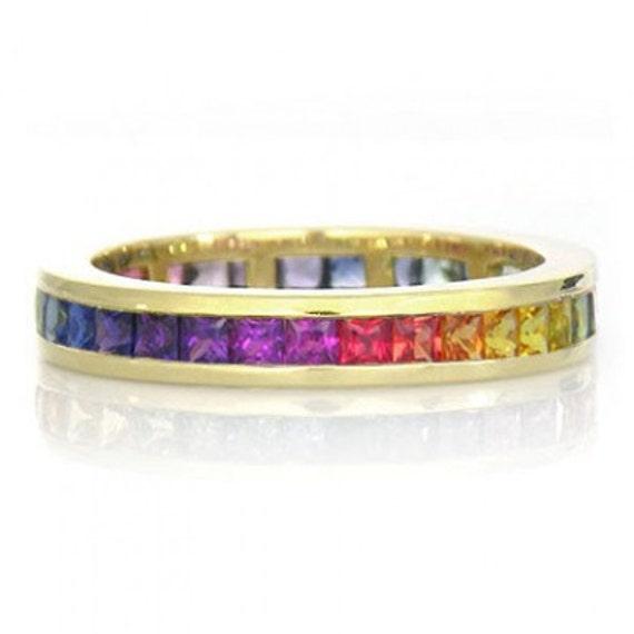Multicolor Rainbow Sapphire Eternity Band Ring 14k Yellow Gold (5ct tw) : sku R2043-14k-yg