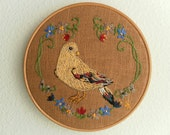 Bird picture, wall art,  embroidered, folk style