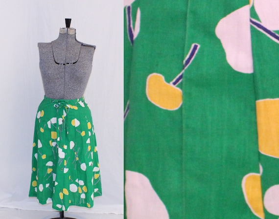 Green Flower Patterned Dress - Size Small