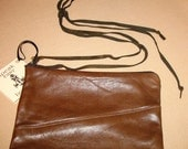 Pouchette Leather Wrist Purse in Chocolate-Brown Lamb.  Great GIFT under 50.
