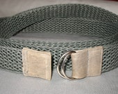 Double Wrap Belt in Grey with D rings by kaj.ani, woven belt with leather detail. SALE. GIFT-item.