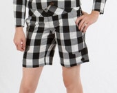 SALE Cuffed Shorts w.Quilt-Stitched Waist in Cotton Gingham-check (black & white).  kaj.ani