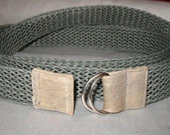 Double Wrap Belt, Web Belt, D Ring Belt, Woven Belt, Gray Belt, Waxed Cotton & Leather Woven D-Ring Belt, Extra Long Double-Wrap Style, SALE