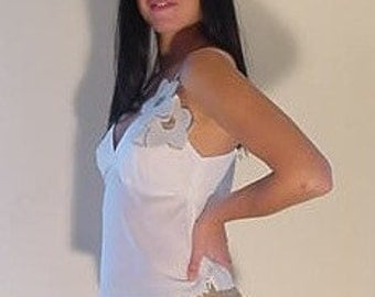 Camisole in White Cotton Voile, Cotton Camisole, White Camisole with Bra-Top Feature & Removable Flower Pins, Camisoles, OOAK