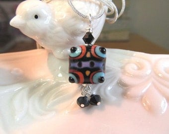 Necklace black blue red square glass art lampwork bead with crystals