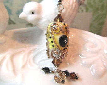Necklace earth tone glass art lampwork bead and crystals
