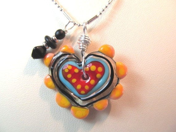 Reserved MM  -  Glass necklace with lampwork bead  orange, blue, black by Desert Bug Heart Topper, glass beads