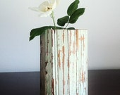 New Orleans Reclaimed Wood Beadboard Vase, Mint Green