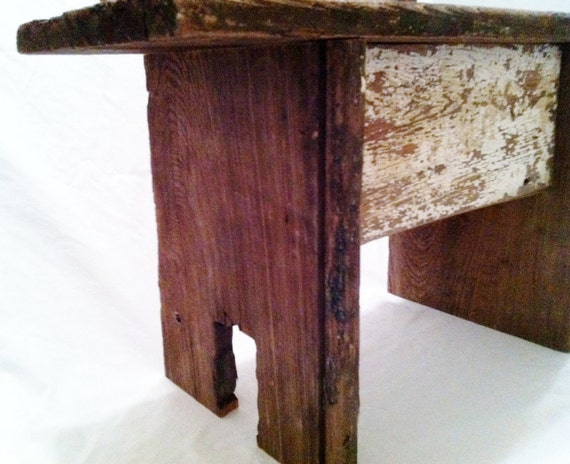 Reclaimed Wood Stool, New Orleans Salvage Wood, Antique Cypress, Rustic, Cottage Chic