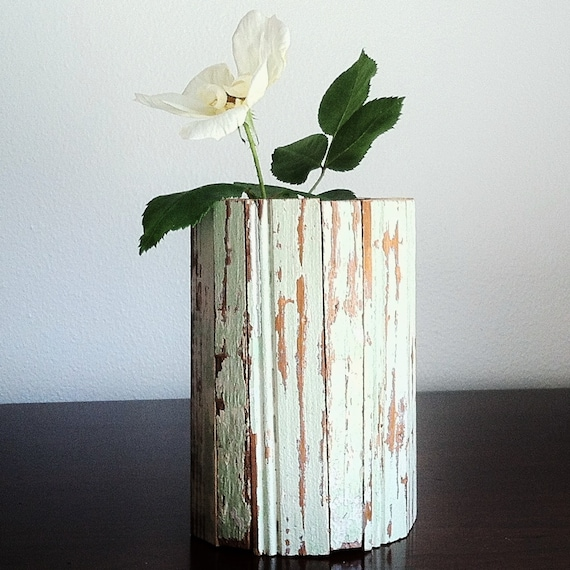 New Orleans Reclaimed Wood Beadboard Vase, Mint Green