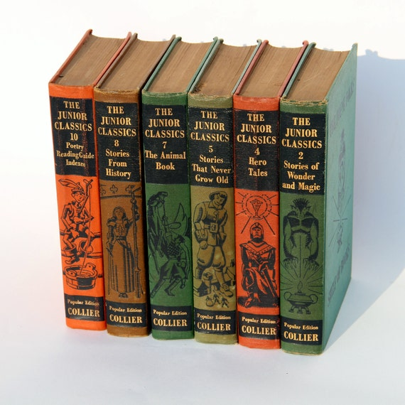 Vintage Book Set, The Junior Classics Young Folks Shelf of Books - Colorful Instant Collection - 1948