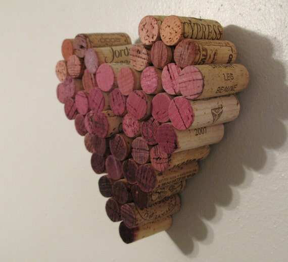 CUSTOM Wine Cork Heart Ombre Wall Hanging Decor