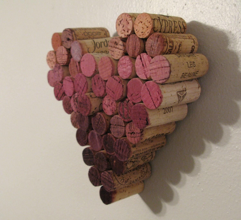 Wine Cork Art: CUSTOM Wine Cork Heart Ombre Wall Hanging Decor
