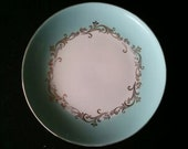 Vintage Lifetime China Co Gold Crown Plates Robins Egg Blue with Gold