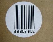 Handmade barcode customised circle labels 48 pack-use them to pack or tag your order.