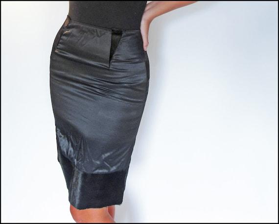 Vintage Handmade Gently Worn Faux Fur & Black Satin Pencil Skirt - XS