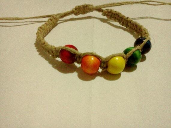 Rainbow beaded hemp bracelet