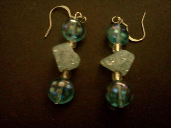 Blue iridescent cracked glass earrings