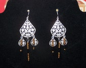 glass beads and metal ear rings