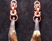 upcycled copper and  buffalo teeth ear rings
