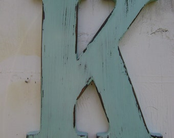 """Shabby chic childrens room decor baby nursery decor 12"""" tall 3/4"""" thick painted spa blu shabby chic wooden letters"""