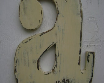 primitive sign -wall sign- painted letters lowercase a painted antique white