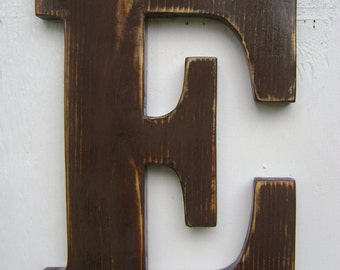 "wall sign rustic wooden letters decor 12"" tall 3/4"" thick wall hanging baby room decor ,cottage decor"