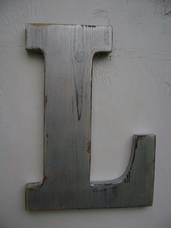 Silver Letters Wall Decor : Items similar to rustc wooden letters wall initials