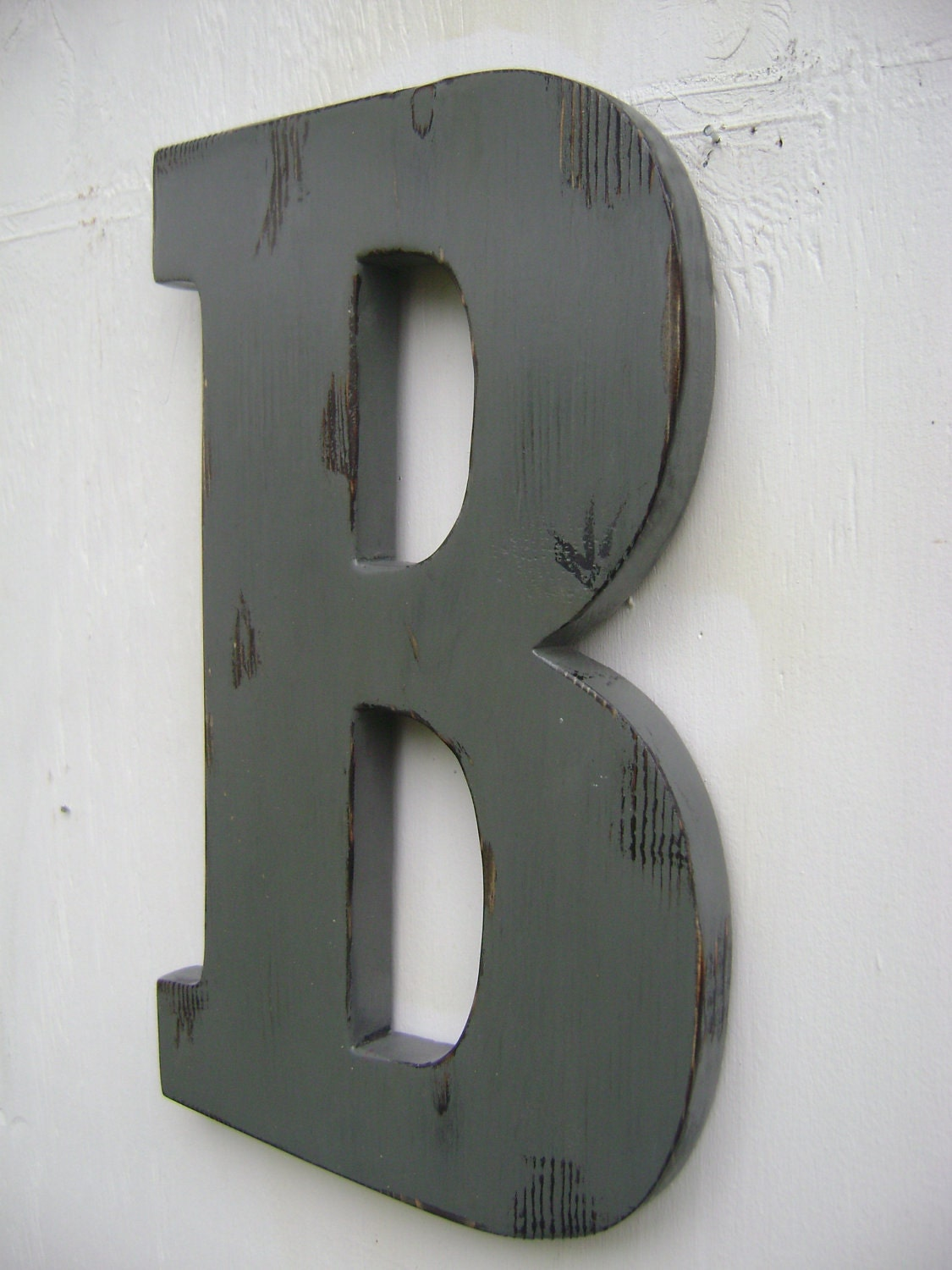 distressed wood letters shabby chic wooden letter b distressed pewter graywood 21380 | il fullxfull.322284756