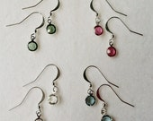 Rose Swarovski 6mm Silver Channel Drop Crystal Earrings