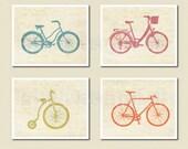 Bicycle Bike Art Print Set Poster Orange Aqua Green Pink Old Paper Textured