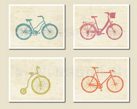 Bicycle Bike Art Print Set Poster Orange Aqua Green Pink Old Paper Textured