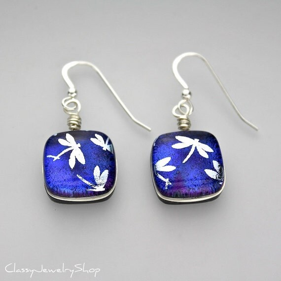 Fused Dichroic Glass Cab Earrings, Silver Wire Wrapped in Blue and Purple with Dragonflies