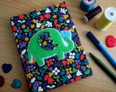 Fabric Covered Address Book Hand-stitched Elephant Design