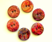Six spring wood buttons in red, mauve,purple and pink colors 1003