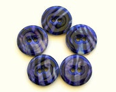 RESERVED FOR LIISA Five wood buttons with cobalt blue design on silk fabric 1006