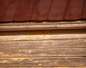 Abandoned Farm House Wall and Roof - Fine Art Photograph. Detail shot, rustic decor, old wood frame, broken windows, shingles, country home