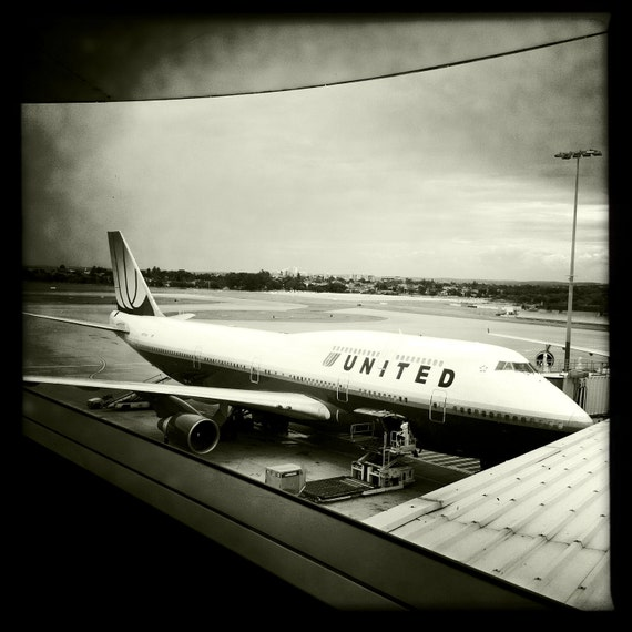 Boeing 747 Sydney Airport, Airplane Decor, Aviation, 10x10 Photograph, Aircraft, United Airlines,