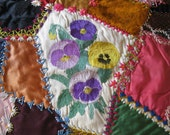 antique crazy quilt block / GORGEOUS / handmade
