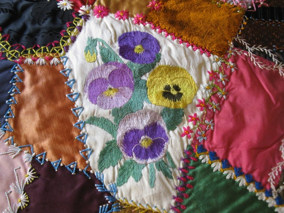 antique crazy quilt block / GORGEOUS / handmade