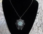 Aquamarine and Silver Flower Pendant Necklace
