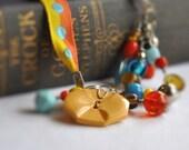 Siesta Vintage Button Bookmark Gift Place Card Bakelite