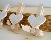 Set of 6 Shabby Chic Wedding Favors ,  Weddings Decorations , Natural Wood Clothespin , Home & Living