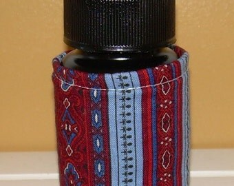Repurposed blue, maroon, red  QUILTED PILL BOTTLE case for meds, paperclips, small items