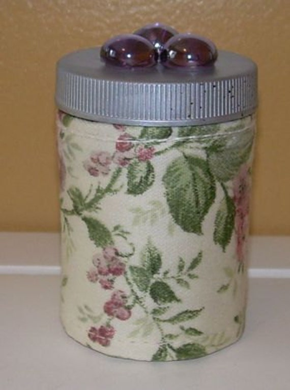 Travel MANICURE Kit in a Cottage Floral QUILTED  BOTTLE  Polish, Emery, Clippers, Cotton Swabs