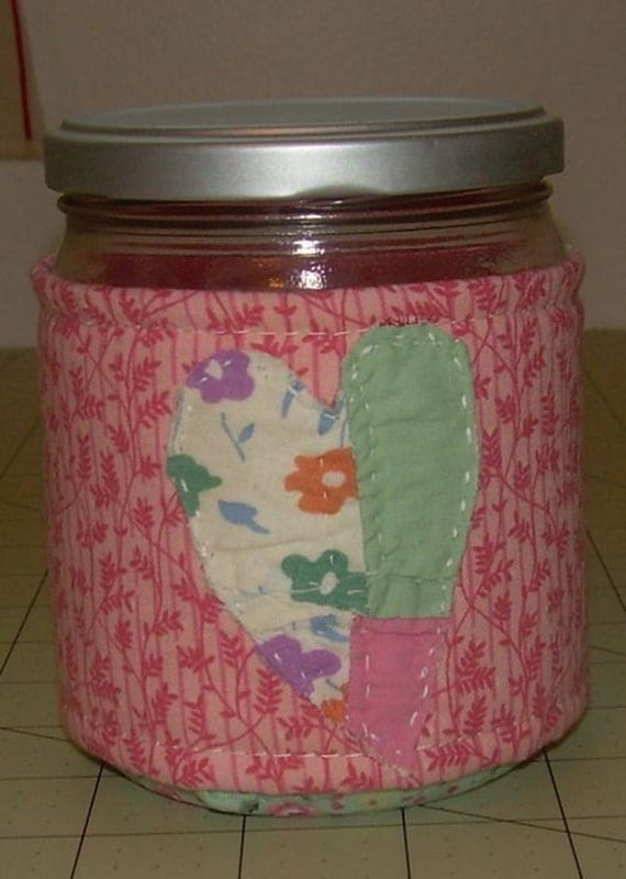 Upcycled quilted heart jar RESERVED FOR JC