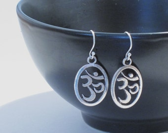 Om Earrings, Yoga Earrings, Yoga Jewelry, Om Jewelry, Yoga Gift, Spiritual Jewelry, Hindu Jewelry